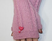 Soft Pink Fingerless Gloves Armwarmers With Heart Buttons Valentine's Day Love One size - READY TO SHIP