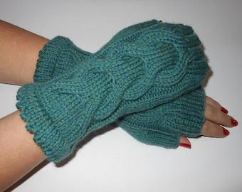 Wrist Warmers, Fingerless Gloves, Womens gift, Mittens, Knitting Jade Heather Color