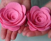 """Wool Felt Flowers -  XX Large Posies 3-1/2"""" - Dimensional Flowers Set of 4"""
