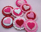 Traditional Valentine Heart Coins Scallop Circles Wool Felt - set of 8