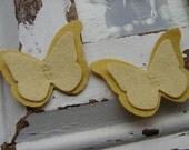 Wool Felt Butterflies - Yellow Collection - Set of 8