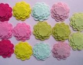 Wool Felt Flower-  Die Cut - Scallop Circle Flowers - Razzle Dazzle Pink Lemonade Flowers - Set of 14 Flowers