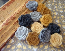 Wool Felt Flowers - Mini Yellow & Gray Collection Posies- The Original Mini Wool Felt Posies