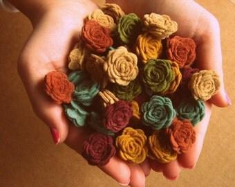 Wool Felt Flowers -  MINI Posies Mother Earth Collection OR Custom Color Choice - 50 Dimensional Wool Felt Posies