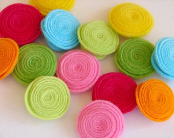 Wool Felt Flowers -  Tropical Rolled Button Flowers