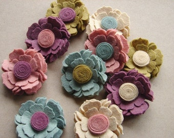 Wool Felt Flower - Cottage Blossoms- Dimensional Wool Felt Flowers