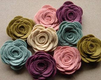 Wool Blend Felt Flowers Large Posies - Cottage Collection - The Original Wool Felt Posies