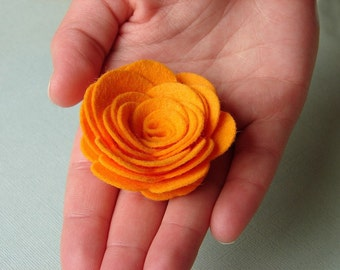 "Wool Felt Flowers - X Large Posies 2-1/4"" - Dimensional Flowers Set of 6"