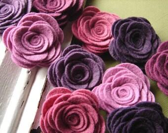 Wool Blend Felt Fabric Flowers - Large Posies - Vineyard Collection - Felt Flowers