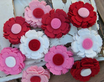 Wool Felt Flower - Sweetheart Collection Blossoms - Valentines