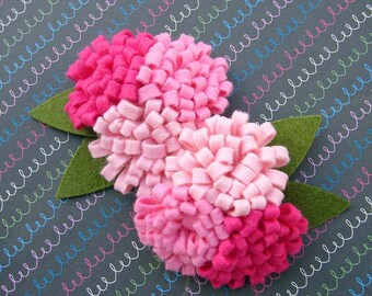 Wool Felt Flower - Pink Collection Pom Pom Trio Flowers - Dimensional Wool Felt Flowers