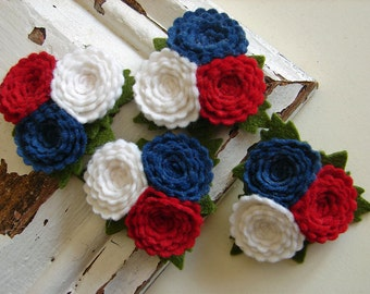 Wool Felt Flowers - Scallop Button Flower Trios - America Collection - Set of 4 with Leaves