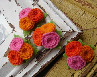 Wool Felt Fabric Flowers - Scallop Button Flower Trios - Shockingly Orange Collection - Set of 4 with Leaves