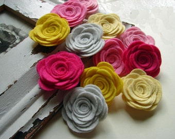 Original Wool Blend Felt Flowers - Large Razzle Dazzle Pink Lemonade Posies