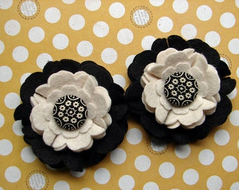 Wool Felt Flowers - Large Blooms - Black and Winter White with Covered Button Felt Flowers