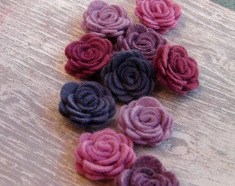 Wool Felt Flowers - Purple Passion Posies - The Original Mini Wool Felt Posies