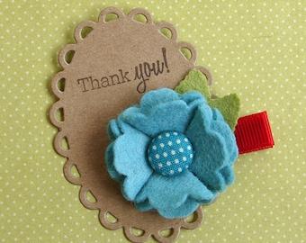 Wool Felt Flower Hair Clip - Fun Aqua Blue Clippie
