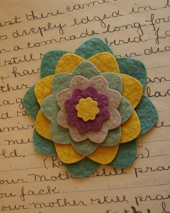 Wool Felt Flower Rounded Die Cut Set - You pick the colors - 6 Sets