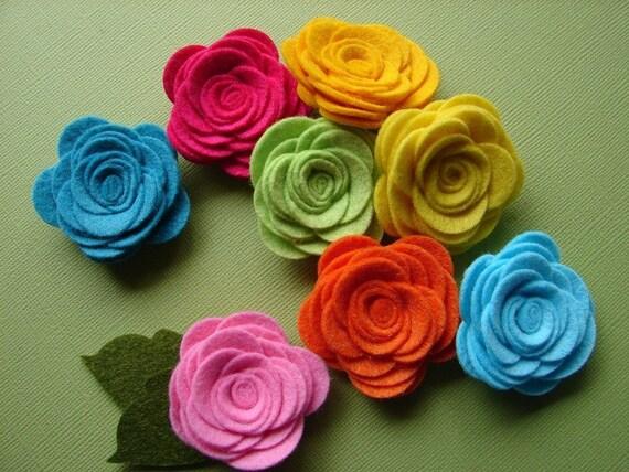 Wool Felt Flowers - Tropical Large Posies - The Original Wool Felt Posies