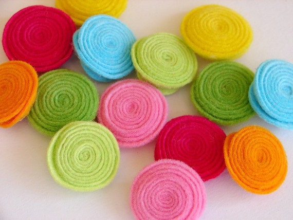 Wool Felt Flowers -  Tropical Rolled Button Flowers
