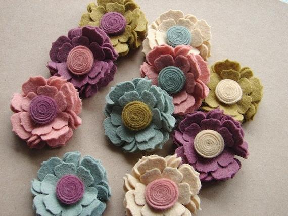 Wool Felt Flower - Cottage Blossoms- Dimensional Wool Felt Flowers