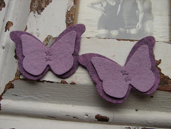 Wool Felt Butterflies - Purple Collection - Set of 8