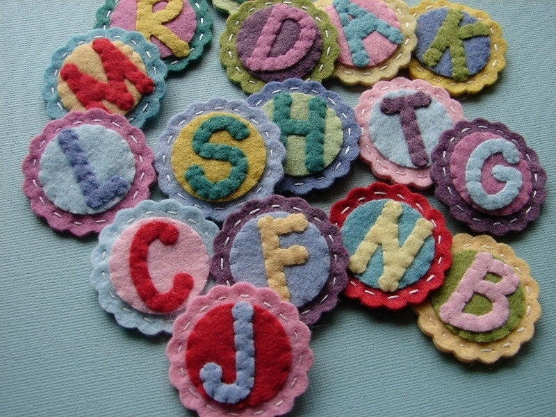 Monogram alphabet letter coins scallop circles wool felt set for Wool felt letters