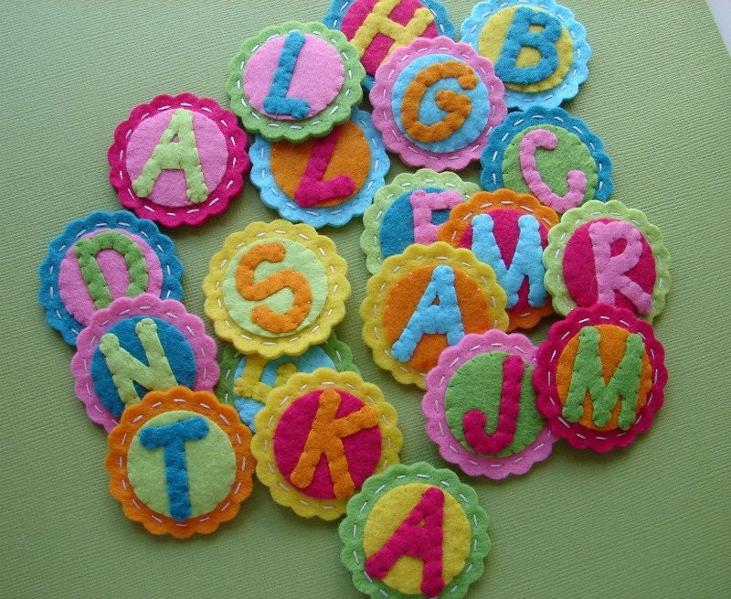 Tropical monogram alphabet letter coins scallop circles for Wool felt letters