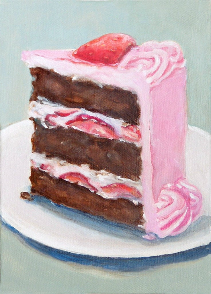 slice of chocolate cake with pink frosting original painting