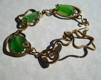Sea Glass Bracelet -Green Seaglass -Brass Element Jewelry