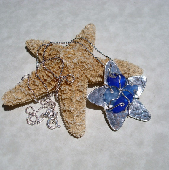 Sea Glass Necklace -Shades of Blue Seaglass -Starfish Pendant -Sterling Silver Jewelry