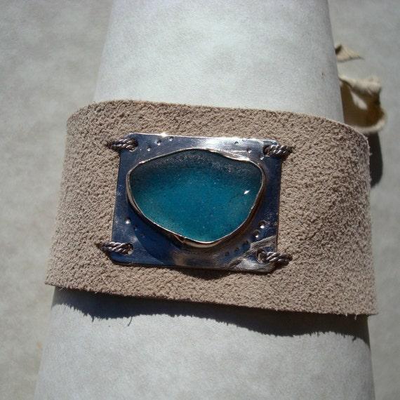 Sale -Leather Cuff -Sea Glass Bracelet- Seaglass Cuff -Suede Jewelry