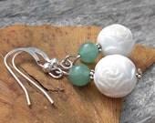 Vintage Rosebud beads with milky green Aventurine stone .. silver hook earrings .. white flowers .. green jade summer colors