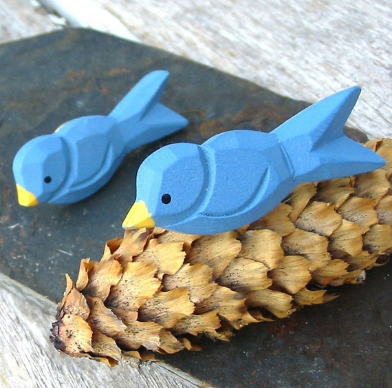 Wooden Blue Bird .. one Brooch or pin for your lapel, tie, hat or even teddy bear