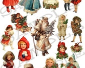 Santa Claus and Children Collage Sheet 3scc You will get a JPEG Sheet and Individual Png Images