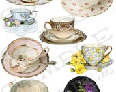 Teacups Collage Sheet 1 Jpeg and Individual Png Images