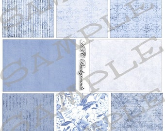 China Blues Backgrounds Collage Sheet 1cb