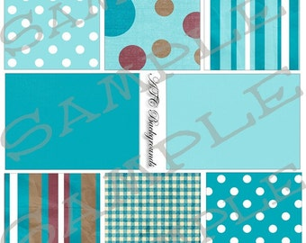 Marina Blues ATC Backgrounds Collage Sheet