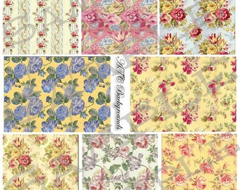 ATC Backgrounds Cottage Florals Collage Sheet 2cfc