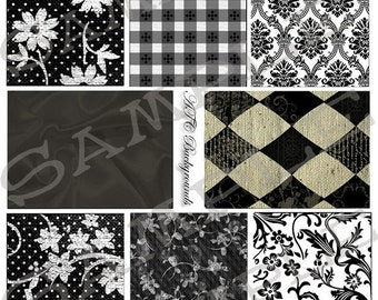 ATC Backgrounds Whites and Blacks Collage Sheet 2bw