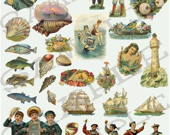 Sailor men and Shells Collage Sheet 1ss