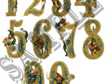 Old Gnome Numbers Collage You Will Get A Jpeg Sheet and Individual Png Images