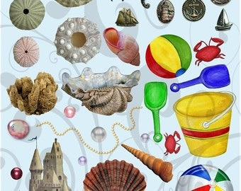 More Sea Stuff Collage Sheet 334mss Instant Download Jpeg and Png Sheet