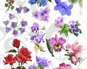 Pretty Nice Flowers Collage Sheet 3pnc You Will get a Jpeg sheet As Well As Individual Png images