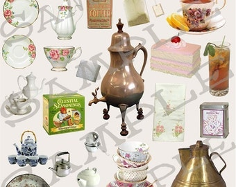 Coffee or Tea Collage Sheet 1ct Instant Download Jpeg Sheet