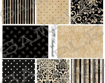 ATC Backgrounds Tans and Blacks Collage Sheet 1bt