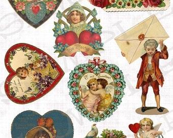 Vintage Valentines Collage Sheet Instant Download Jpeg Sheet