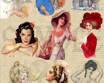 Pretty Women Collage Sheet You Will Get a Jpeg sheet and Individual Png Images