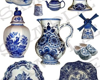 Blue and White Delft China Collage Sheet 1