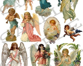Angels Collage Sheet 1ac You Will Get a Jpeg Sheet And Individual PNG Images
